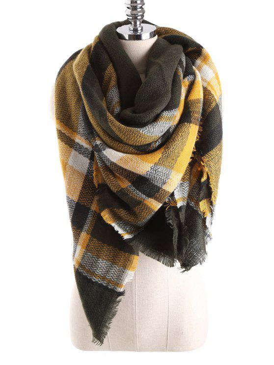 women's Tartan Plaid Blanket Shawl Scarf - YELLOW
