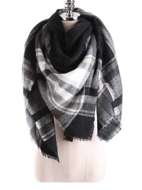 Manta de la tela escocesa de la bufanda del mantón - Negro