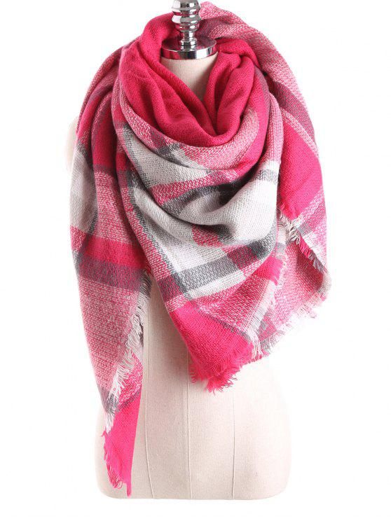 lady Tartan Plaid Blanket Shawl Scarf - BRIGHT PINK
