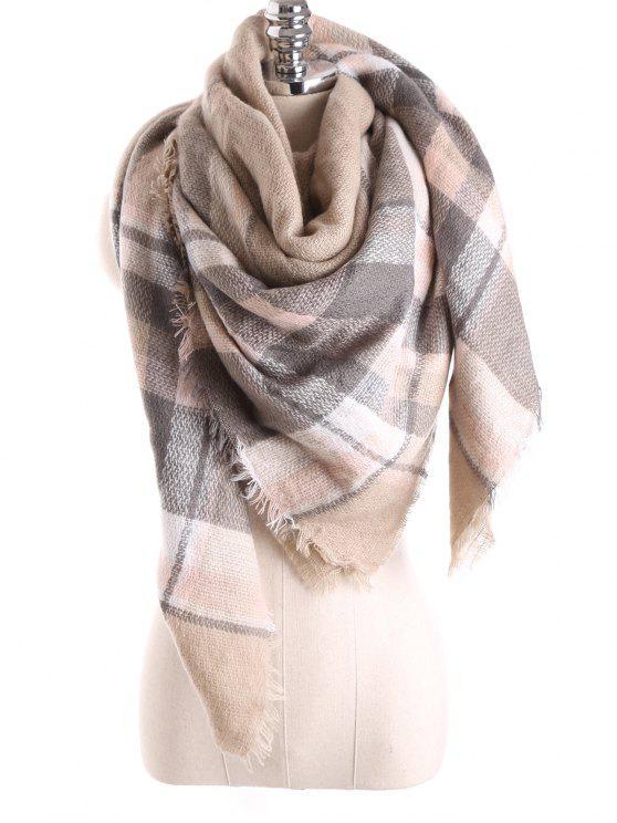 Manta de la tela escocesa de la bufanda del mantón - Caqui Claro