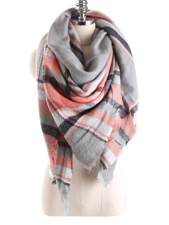 online Tartan Plaid Blanket Shawl Scarf - GRAY