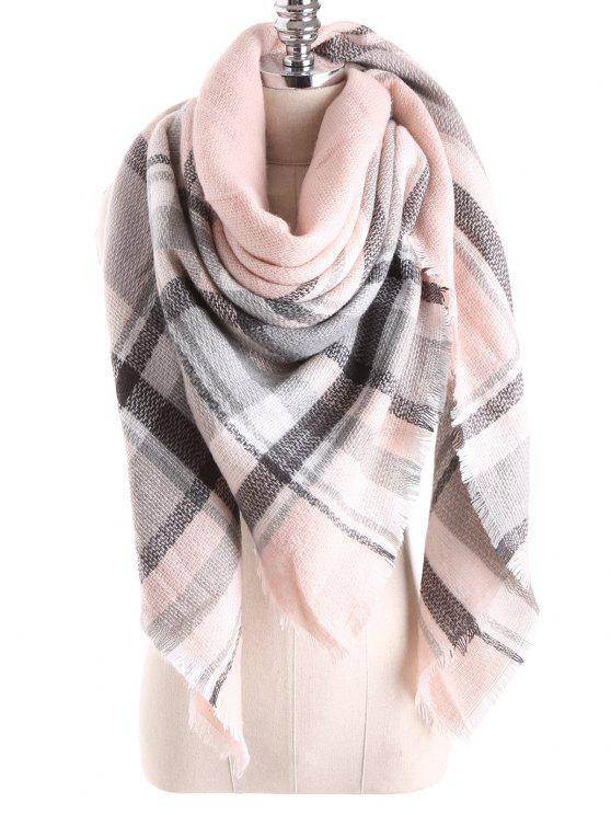 Tartan Plaid Blanket Xaile Scarf - Pérola Rosa Claro