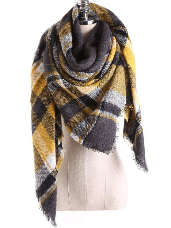 outfits Tartan Plaid Blanket Shawl Scarf - CHARCOAL GRAY