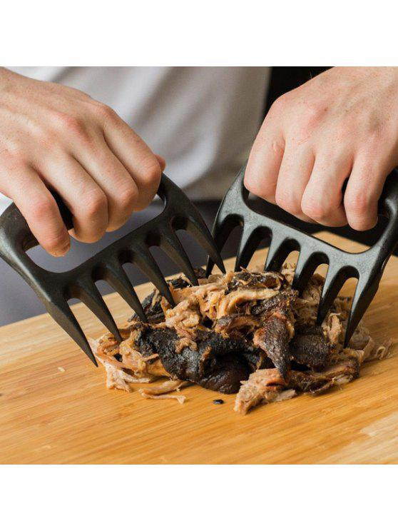 best 2PCS Pork Meat Handle Pull Shred Bear Claw Barbecue Forks - BLACK