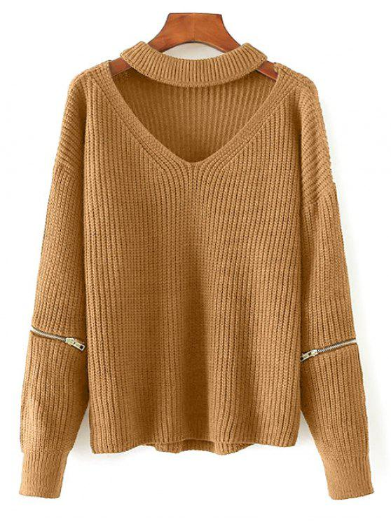 women's Cut Out Chunky Choker Sweater - EARTHY ONE SIZE