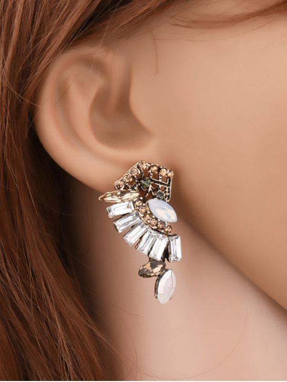buy Artificial Crystal Rhinestone Waterdrop Earrings - YELLOW