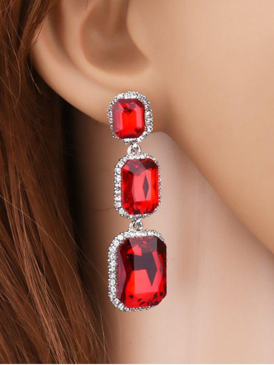 women Geometric Faux Gemstone Rhinestone Earrings - RED