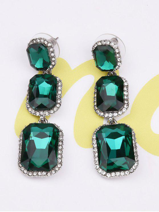 Boucles d'oreilles géométrique en strass et fausse gemme - Vert