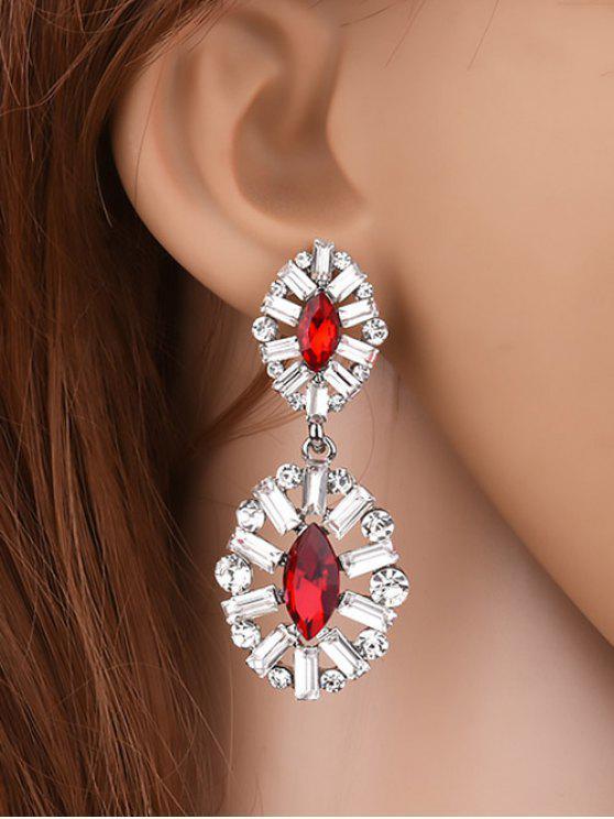 Boucles d'oreilles en cristal artificiel ,en strass fausse pendue - Rouge
