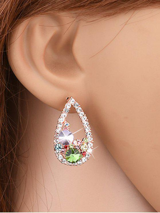 hot Waterdrop Rhinestone Stud Earrings - YELLOW