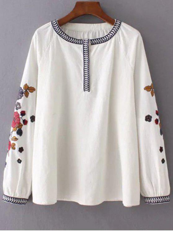 Bordada blusa de la manga - Blancuzco M