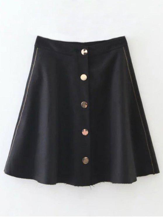 Mezcla de lanas del volante mini falda - Negro L