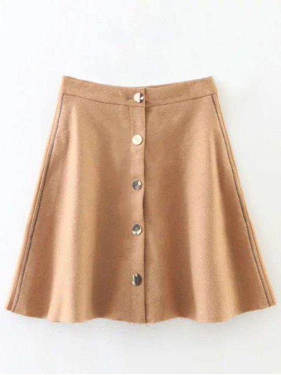 Mezcla de lanas del volante mini falda - Caqui L