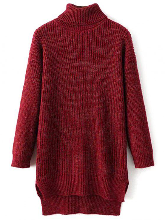 Side Slit Turtleneck Heather Sweater - Rouge vineux  TAILLE MOYENNE