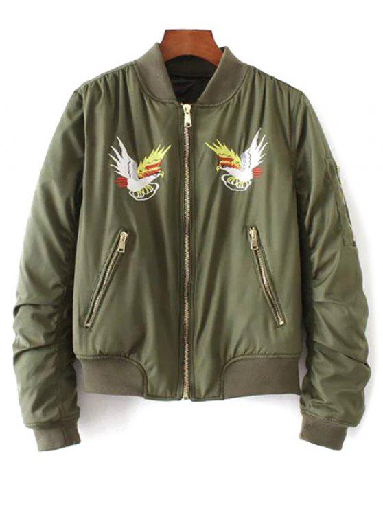 fancy Eagle Embroidered Quilted Bomber Jacket - ARMY GREEN S