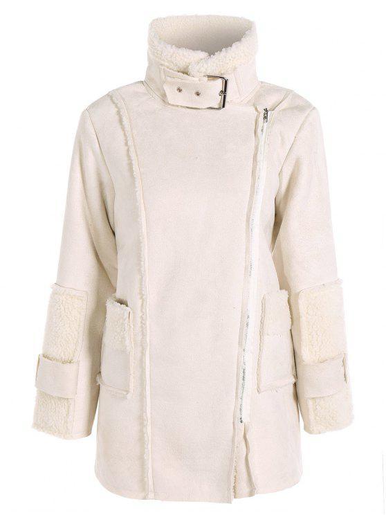 shops Faux Suede Fleece Lining Zipped Coat - OFF-WHITE L