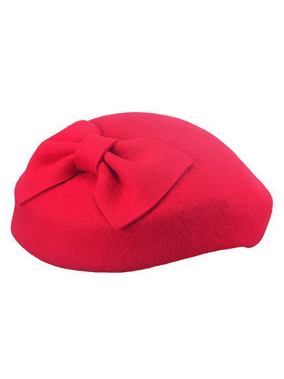 Boina embelezada em lã com laço - Vermelho