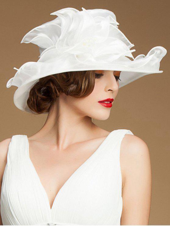 lady Summer Chiffon Wide Brim Froral Sun Hat - WHITE