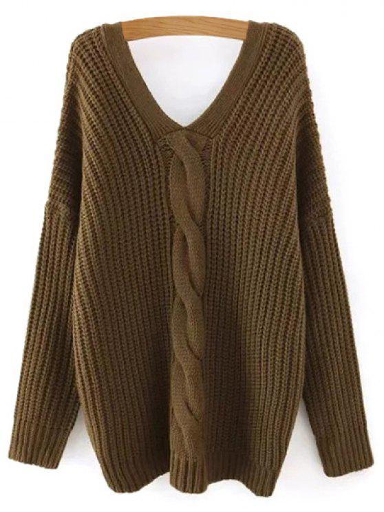 Cable de punto con cuello en V suéter con botones traseros - Verde del ejército L
