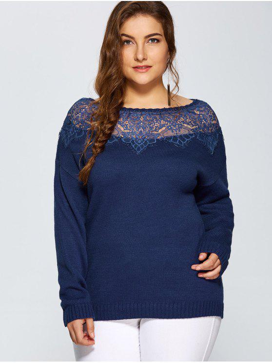 women's Lace Insert Pullover Plus Size Sweater - DEEP BLUE 3XL