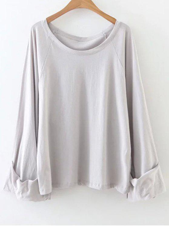 latest Scoop Neck Tunic Tee - GRAY ONE SIZE