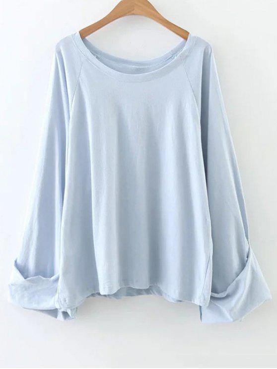 Túnica con cuello redondo Camiseta - Azul Claro Única Talla