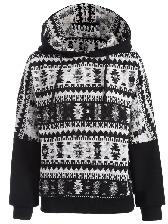 online Tribal Jacquard Pullover Batwing Hoodie - WHITE AND BLACK M