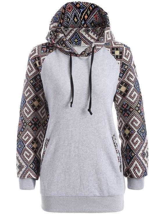 Jacquard sudadera con capucha con cordón - Gris XL