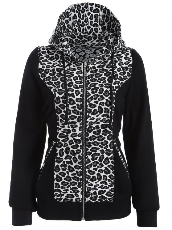 shop Zip Up Leopard Panel Hoodie - WHITE AND BLACK 2XL