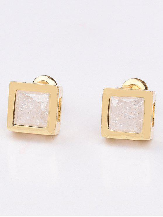 outfit Square Rhinestone Earrings - WHITE