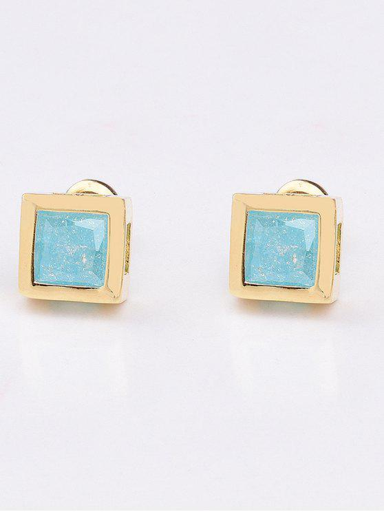 outfits Square Rhinestone Earrings - LAKE BLUE