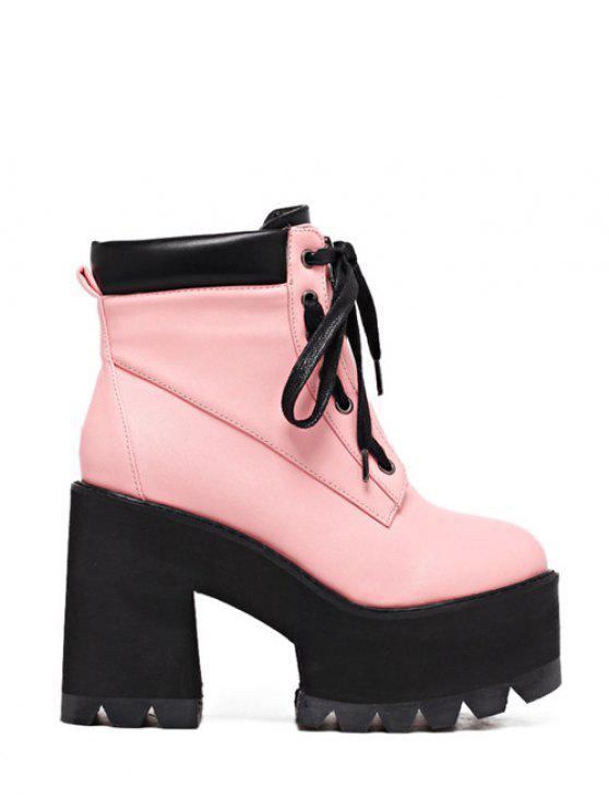 new Platform Chunky Heel Combat Boots - PINK 37
