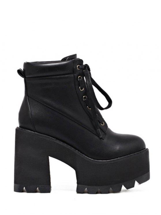 Platform Chunky Heel Combat Boots BLACK: Boots 38 | ZAFUL