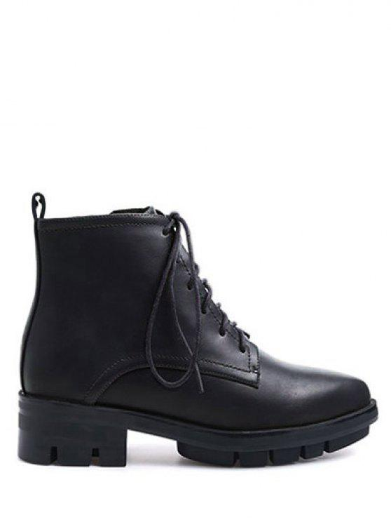 trendy Pointed Toe Chunky Heel Combat Boots - BLACK 38
