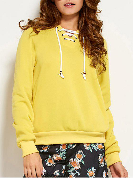 best Lace Up Raglan Sleeve Hoodie - YELLOW M