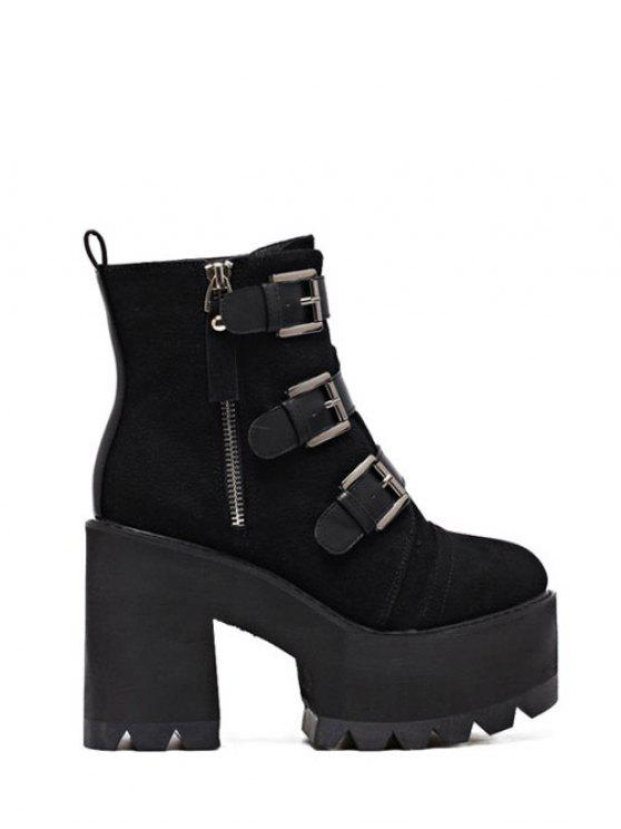fashion Platform Triple Buckles Chunky Heel Boots - BLACK 39