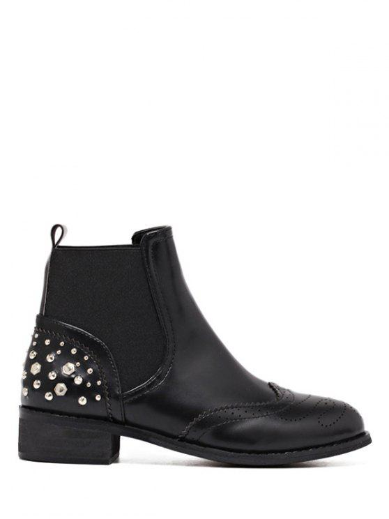 sale Engraving Rivet PU Leather Short Boots - BLACK 37