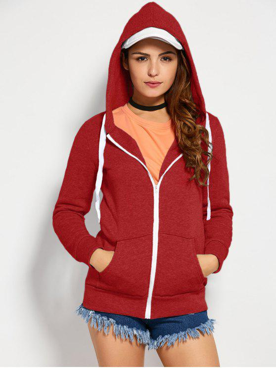 hot Drawstring Zip Up Hoodie with Pocket - RED M