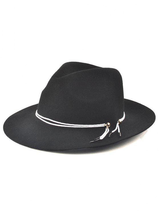 outfits Winter Big Brimmed Drawstring Fedora Hat - BLACK