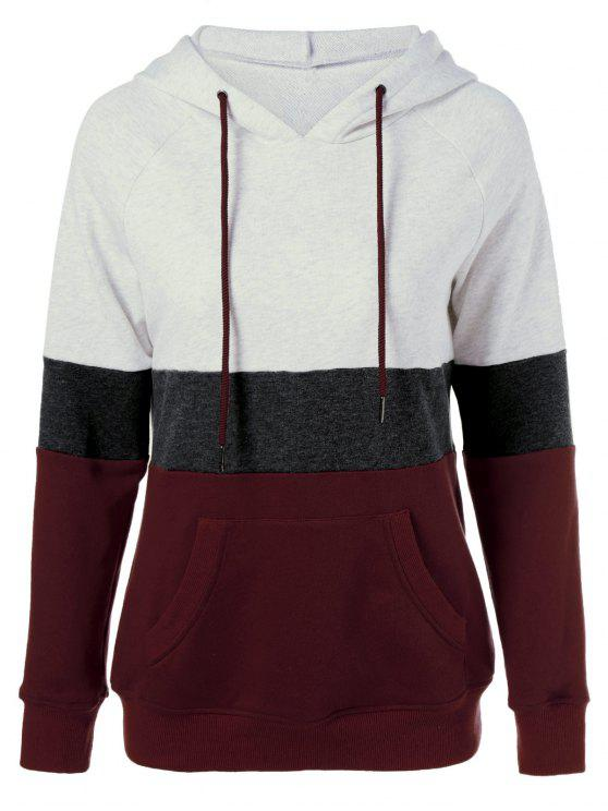 90a71e3d4752d 25% OFF  2019 Color Block Drawstring Plus Size Hoodie In COLORMIX XL ...