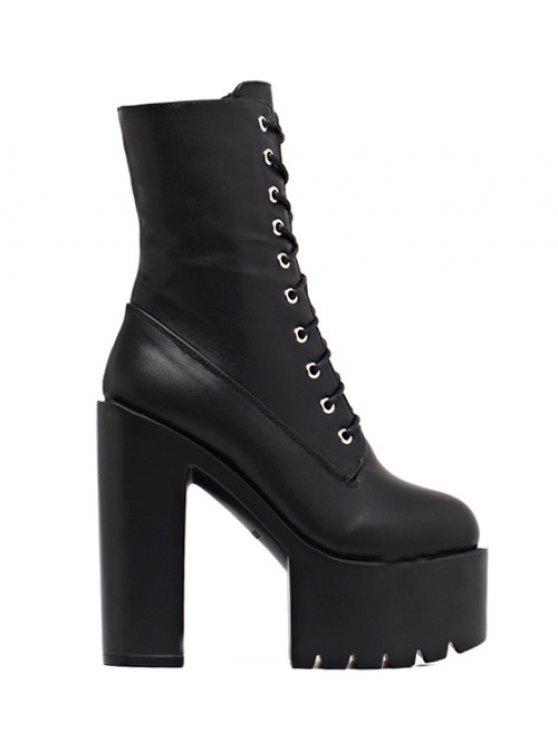 Fold Down High Heel Combat Boots BLACK: Boots 39   ZAFUL
