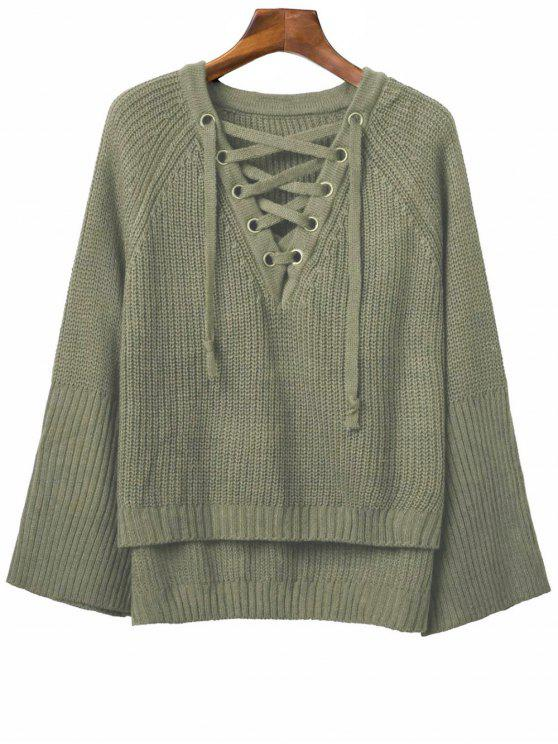 Ate para arriba cuello en V suéter manga larga - Verde del ejército Talla única