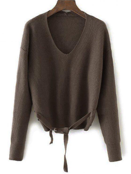 Suéter flojo de cadena - Café Única Talla