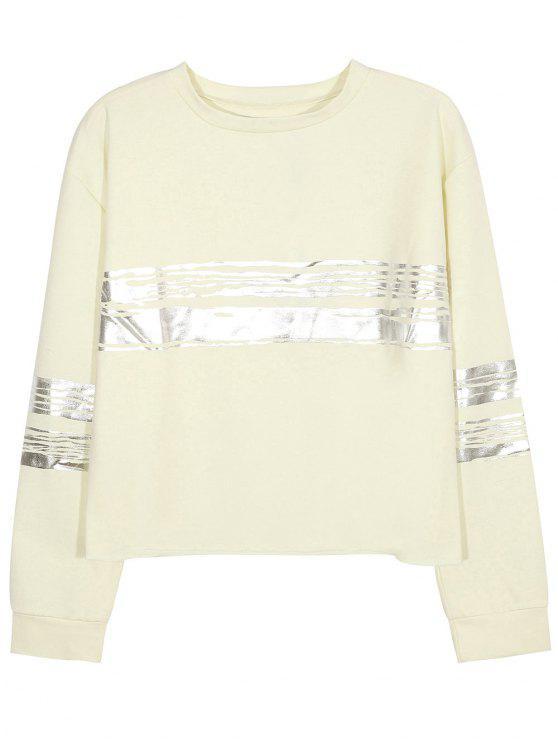 Metálico de la raya de la camiseta de cuello redondo - Beige L