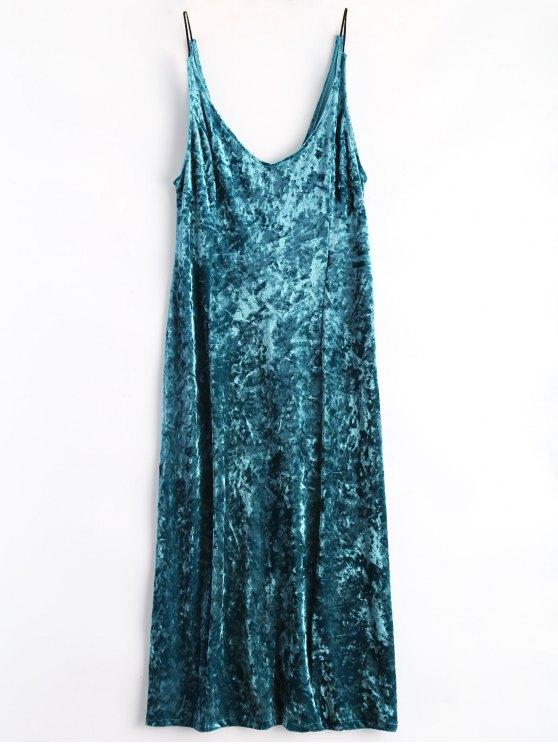 affordable Shimmer Velvet Cami Dress - PEACOCK BLUE M