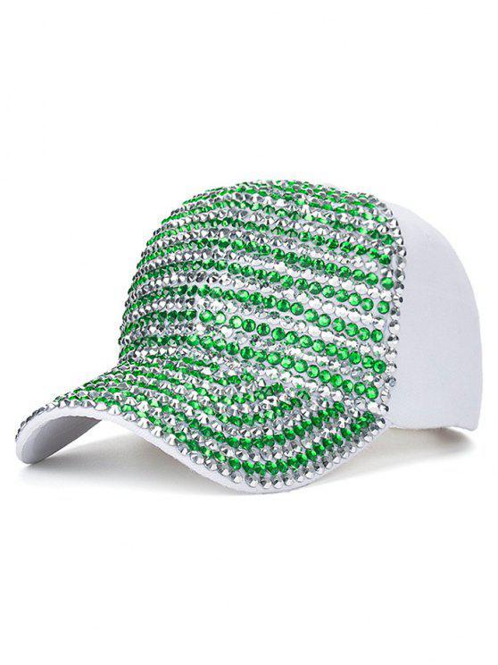 Casquette de base-ball décontractée décorée des strass - Blanc