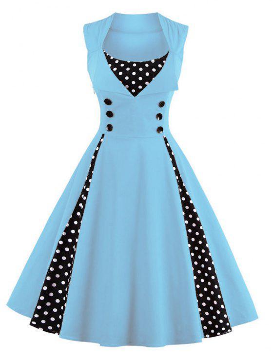 Vestido abotoado retrô embelezado com estampa de bolinhas - Azul claro M
