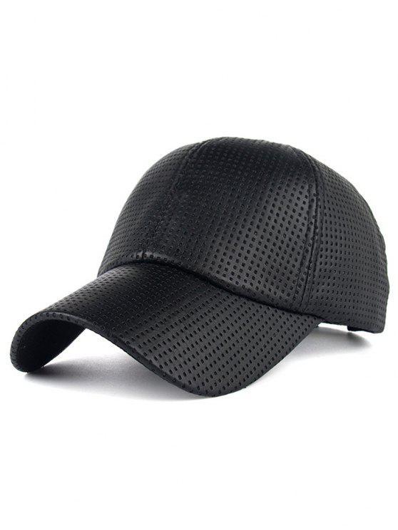 Casquette de base-ball en PU cuir décontracté design trous - Noir