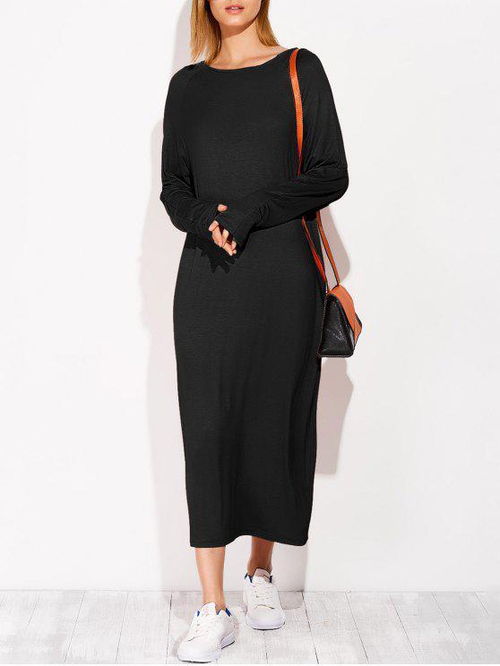 women Modal Lounge Midi Dress With Sleeves - BLACK ONE SIZE