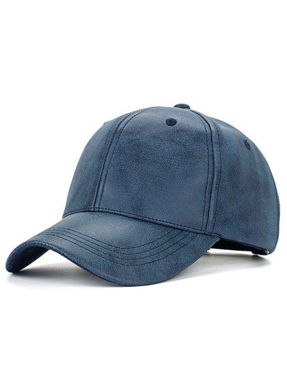 Casquette de baseball en cuir PU - Bleu Cadette